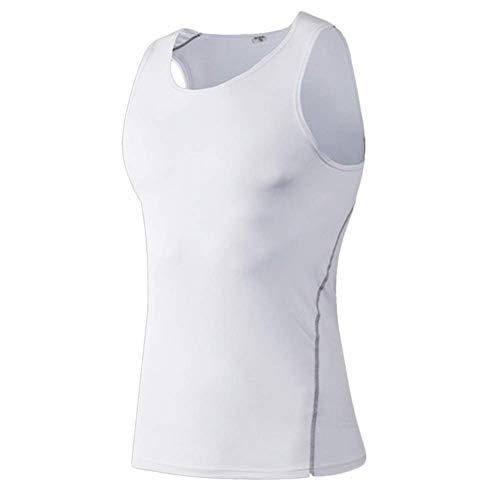 Huaheng Mannen Compressie Basislaag Mouwloos Vest Tank Top Sneldrogende Sport Gym Onder Shirt L Kleur: wit