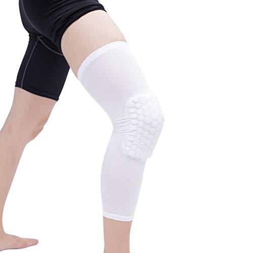 RONSHIN Knee Compression Sleeve Knee Pads Leg Sleeve for Basketball, Volleyball, Weightlifting White Long Knee Pads - L