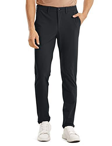 CRZ YOGA Pantalones ajustados para hombre, delgados, informales, lisos, con bolsillos laterales, 86,36 cm, Negro, 34