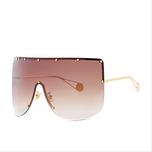 SLIYFJKQLX Gafas De Sol De Una Pieza con Montura De Gran Tamaño Gafas De Sol A Prueba De Viento Mi Nail Fashion