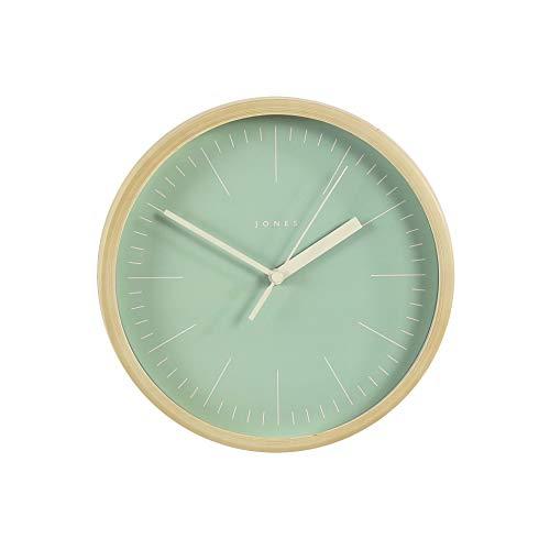 JONES CLOCKS® Spin kleine Wanduhr, farbiges Zifferblatt und Zeiger, 20 cm (Grün/Helles Holz)