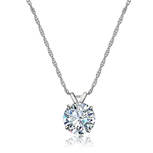 Jewelili 10K White Gold 8 MM Round Swarovski Zirconia Solitaire Pendant Necklace,...