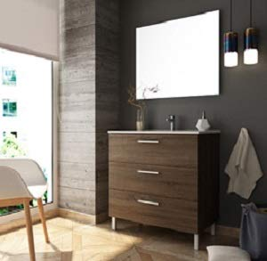 Aquore | Mueble de Baño con Lavabo y Espejo | Mueble Baño Modelo Menorca 3 Cajones con Patas | Muebles de Baño | Diferentes Acabados Color (Britania, 100 cm)