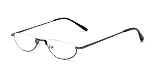 Readers.com Reading Glasses: The Lynwood Reader, Metal Round Style for Men and Women - Grey, 1.50