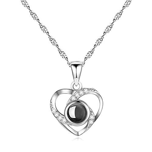 GYAM Collar S925 Proyección De Plata Corazón De Amor 100 Idiomas Te Amo Collar Amor Memoria Cadena De Clavícula para El Día De San Valentín,A
