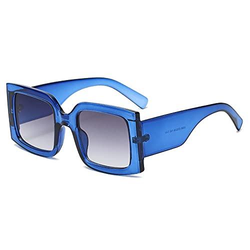 YAMEIZE Gafas de sol vintage de gran tamaño para mujeres y hombres, con marco cuadrado de moda, protección UV400, Azul oscuro, M
