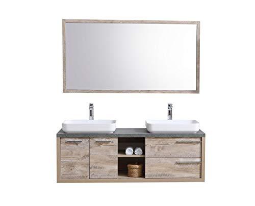 Badezimmer Badmöbel Vermont 150 cm Nature Wood - Unterschrank Schrank Waschbecken Spiegel