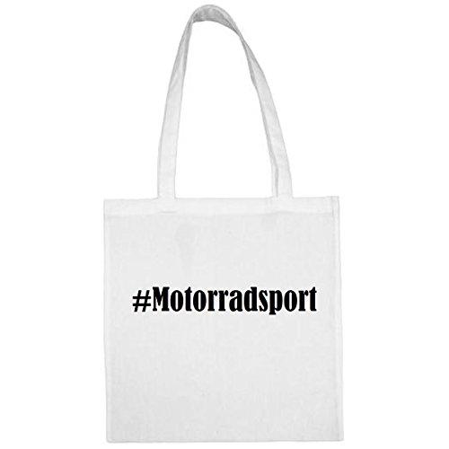 Tasche #Motorradsport Größe 38x42 Farbe Weiss Druck Schwarz