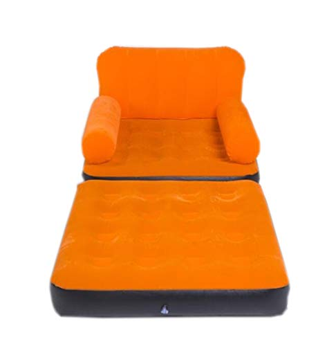 XinQing-Lazy Sofa Suede Inflatable Sofa Single Lazy Couch Home Outdoor Camping Portable Air Bed Siesta Seat + Electric Pump 64×191×97cm