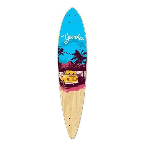 Yocaher VW Vibe Beach Series Skateboard Longboard Pintail Deck Only – Blue