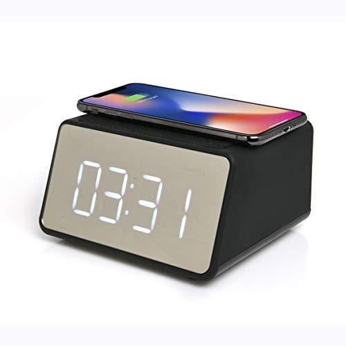 Blaupunkt MP2850-133 Lautsprecher, Wecker, mit Induktionsladegerät, für Smartphone – kompatibel mit Bluetooth 4 W, Schwarz