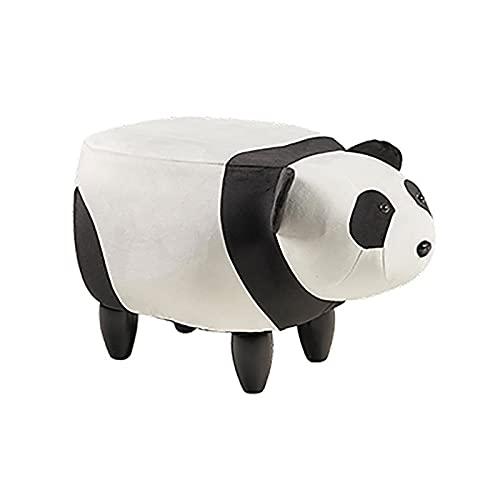 Puf infantil de piel sintética | Puf con forma de animal | Puf para dormitorio y salón (panda)