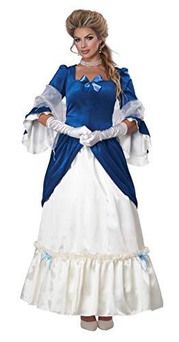 California Costumes Colonial Era Dress/Martha Washington Adult Costume, Large Blue/White