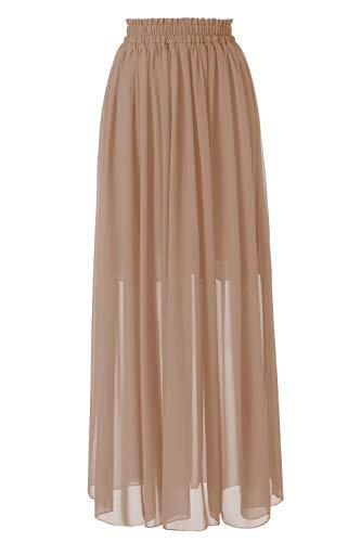 Topdress Women's Long Beach Skirt Elastic Waistband Chiffon Maxi Skirts Maternity Outfits Champagne M