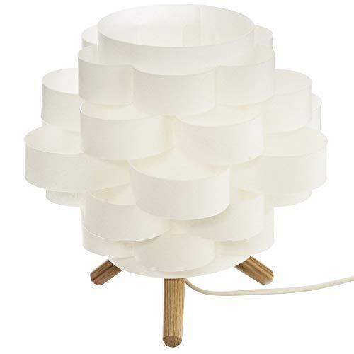 Atmosphera - Lampe à Poser Trépied en Bambou et Abat-Jour Blanc H 22 cm