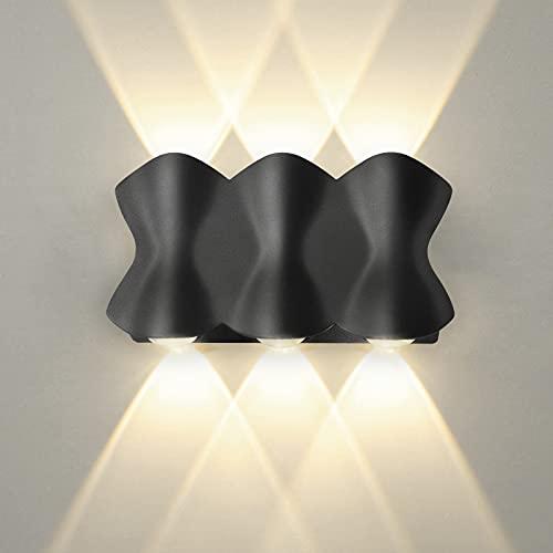 Wandlampe Außen/Innen Wandleuchten, Shuniu 6W LED Wandleuchte 3000K, IP65 Modern oben und unten Design Außenwandleuchten für Schlafzimmer Wohnzimmer Treppenhaus Flur Wandbeleuchtung (Warmweiß)