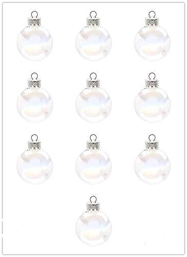 ADHG 10 Pezzi di Vetro Trasparente Albero di Natale Palline Palla appesa Ornamenti a Goccia Palla Iridescente Ciondolo di Natale Decorazione Albero di Nozze Appeso