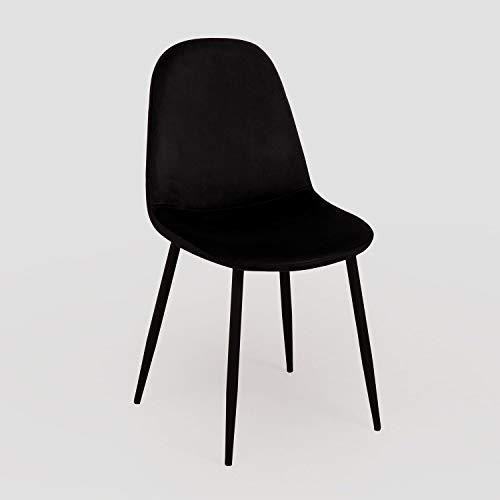 SKLUM Silla de Comedor en Terciopelo Glamm Terciopelo Negro Negro - (Elige Color)