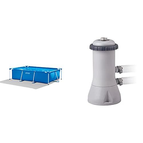 Intex Rectangular Frame Pool -Aufstellpool - 300 x 200 x 75 cm & Krystal Clear Cartridge Filter Pump - Pool Kartuschenfilteranlage, 2.7m³/h