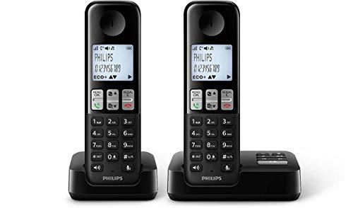 Philips Schnurlostelefon mit Anrufbeantworter D2552B/01 DECT - 2 Mobilteile mit Lautsprecher für einfaches Telefonieren über die Freisprecheinrichtung - Bis zu 16 Stunden Gesprächszeit - Schwarz