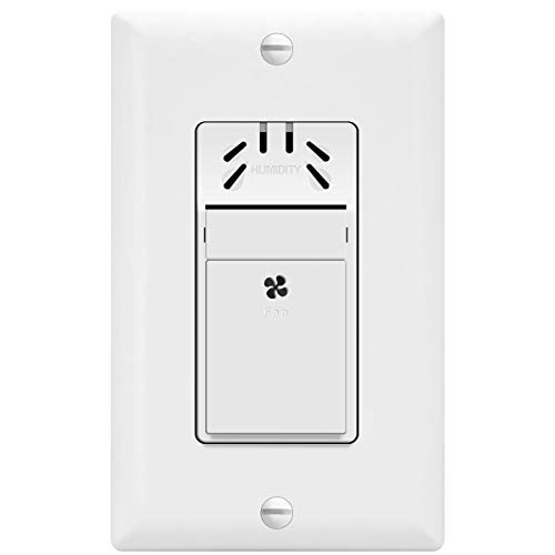 TOPGREENER Humidity Sensor Switch, New Model, Air Moisture Detection, Bathroom Fan Automated Control, Adjustable Timing, NEUTRAL WIRE REQUIRED, UL Listed, TDHS5, White