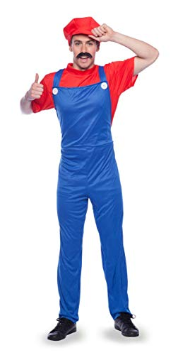 Folat 21965 Super-Klempner Mario Kostüm Erwachsene-L, rot, M-L