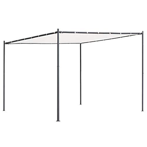 vidaXL Gartenpavillon mit Flachdach Pavillon Pergola Gartenzelt Terrassendach Sonnenschutz Überdachung Partyzelt 3x3x2,4m Weiß 180g/m²