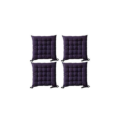 Lot de 4 Galettes de chaise à assise matelassée unie - Violet - 40x40x5cm - Today
