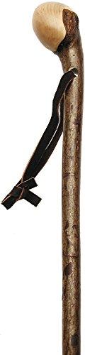 Hazelwood, Root Knobbed Walking Cane with Polished Hazelwood Shaft and Leather Strap