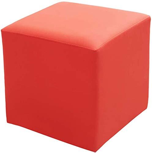 ZCM Puf De Cubo De Cuero Tapizado Otomano, Puf Taburete De Madera Maciza Cuadrado De Cuero Mesa De Centro para Sala De Estar Banco Pequeño