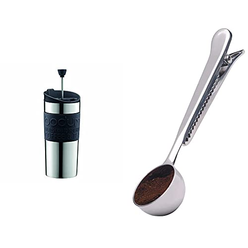 BODUM Travel Press Set Small Stainless Steel Coffee Maker with Extra Lid, Vacuum, 0.35 Litre/ 12 oz, Lime Green_Parent