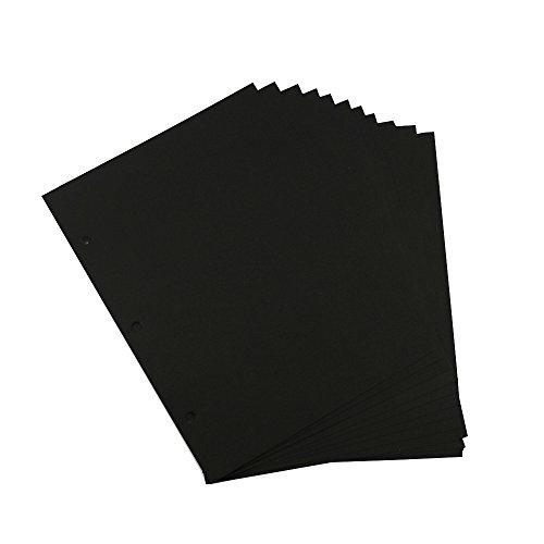 """Papel Scrapbooking Tamaño de la página 26X18CM / 10.23 """"X7.08"""" Páginas de relleno negro para Scrapbook Álbum de fotos Fabric Post Bound Album 24PCS"""