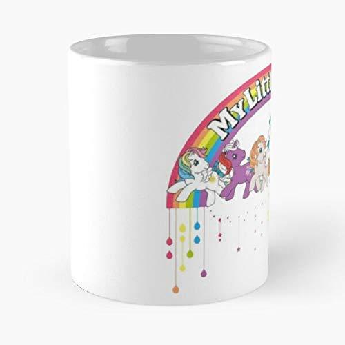 MLP Retro – Taza de café de cerámica blanca de color blanco
