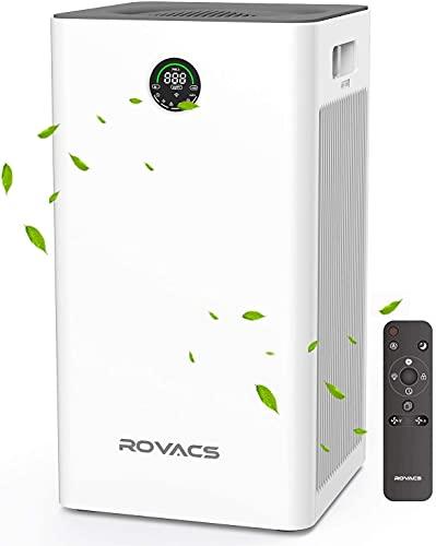 ROVACS Purificatore d'Aria con Vero Filtro HEPA H13,Adatto per 23-40㎡,CADR: 340M³/H,Air Purifier purifica Il 99,97% di Particelle allergiche, Fumo,peli di Animali Domestici,odori (RV320-M)…