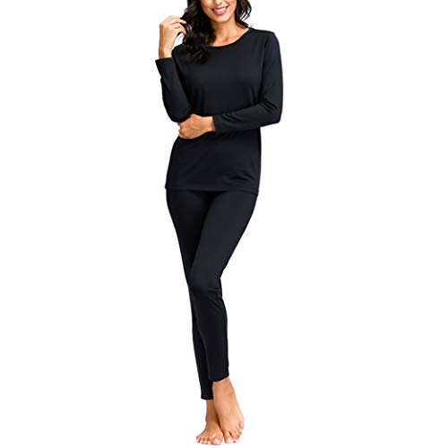 Degrees of Comfort Breathable Premium Quality Women Thermal Underwear Set ThermicFlex Technology Layering Fibers Conform Body Types Everyday Fashion Thermal Underwear for Women Black Small
