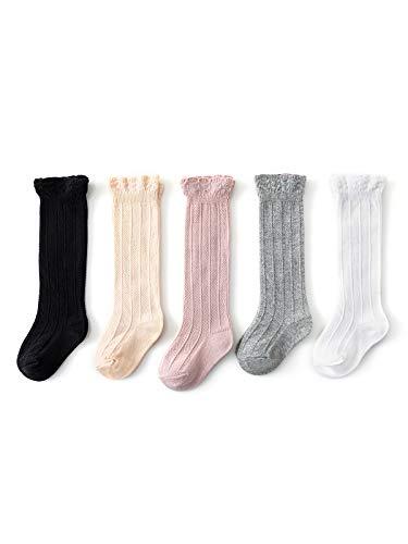Century Star Calcetines de algodón para bebés y niñas y niños a la rodilla, Color mixto, 5 pares., Small (0-1 Años)