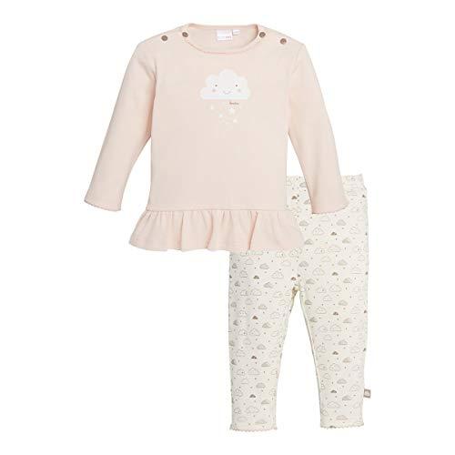 Bornino Basics Schlafanzug lang Wolke (2-TLG.) - Baby-Pyjama mit Langarmshirt mit Rundhalsausschnitt & Druckknöpfen - Hose mit Wolken-Print - rosa
