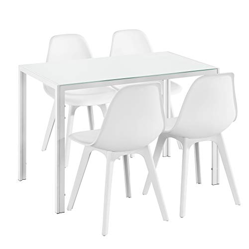 Eetkamerset Delft - glazen eettafel met 4 stoelen - wit