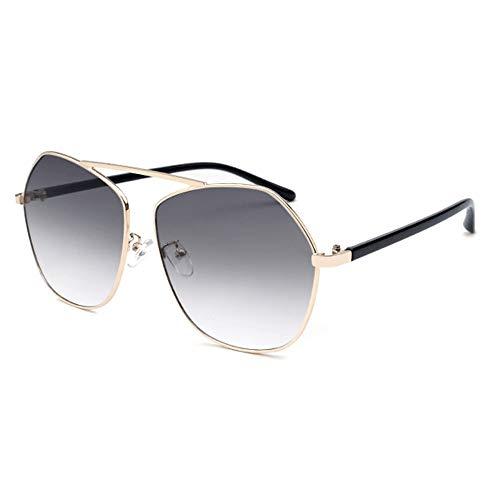 WHSS gafas de sol Poligonal Frontera Personalidad Moda Gafas De Sol Gris Gradiente Lente UV400 Protección Unisex