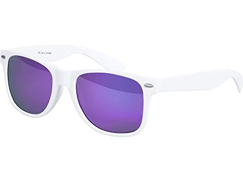Balinco Balinco Sonnenbrille UV400 CAT 3 CE Rubber - mit Federscharnier für Damen & Herren (weiß - lila)