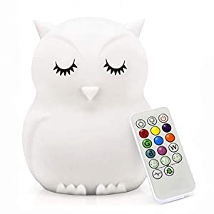 Owl Night Light for Kids, Rechargeable Night Light, LED Bedside Lamp for Child, Silicone Nursery Lamp for Breastfeeding, Eye Caring, Adjustable Brightness & Color, Time setting, Touch + Remote Control