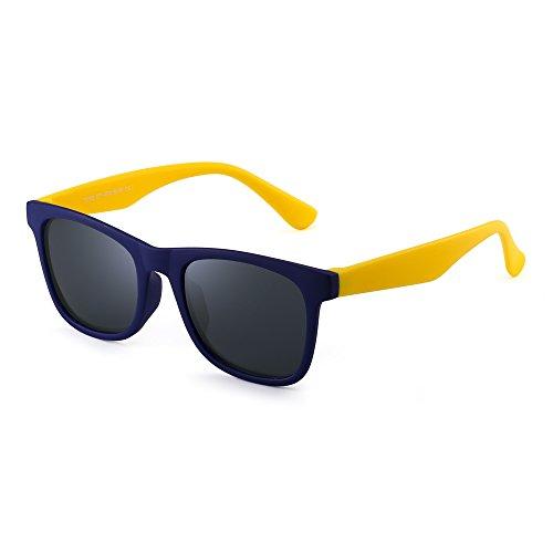 JM Polarisiert Kinder Sonnenbrille Gummi Jungs Mädchen Kids Flexibel Brille Alter 3-12 (Blau Gelb/Polarisiertes Grau)