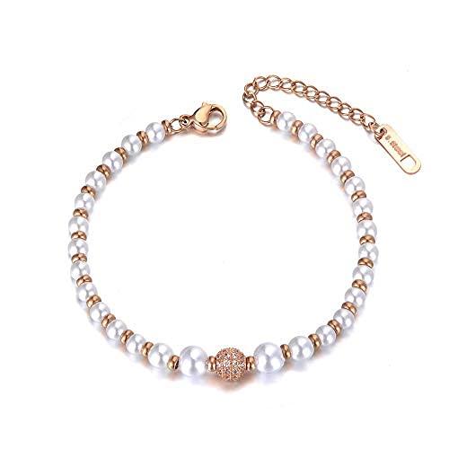 Pulseras de perlas de imitación de acero inoxidable para mujeres niñas Link pulsera de cadena cz Crystal Jewelry