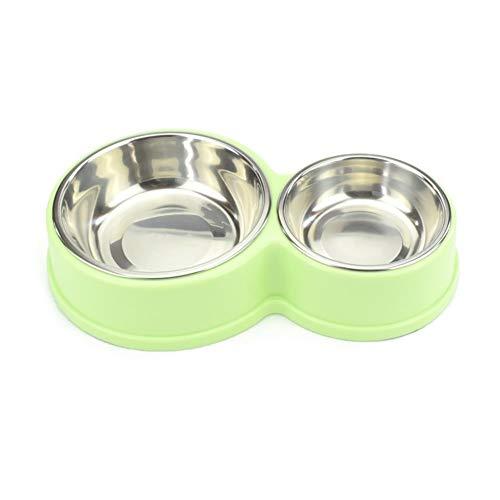 Dubbele hondenkom roestvrij stalen huisdier voeden hondenvoer kom drinkwater fontein puppy feeder Cat Bowl 28x17x5cm B