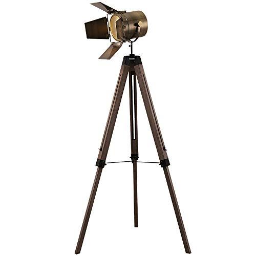 CYLAMP Stehlampe Industrial Vintage, Holz Tripod Stehleuchte Retro, Nostalgie Stehlampe Deckenfluter im Cinema Stil Höhenverstellbar Studiolampe für Wohnzimmer Schlafzimmer