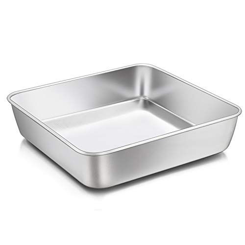 8 x 8-Inch Baking Pan, E-far Square Cake Brownie Baking Pans Stainless Steel Bakeware, Fits in Small Toaster Oven, Non-toxic & Dishwasher Safe