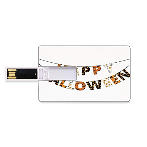 32GB Chiavette USB Flash Halloween Archiviazione su Memory Stick del disco U della chiave di affari della forma della carta di credito Happy Halloween Banner Saluti Zucche Teschio Croce Ossa Pipistre