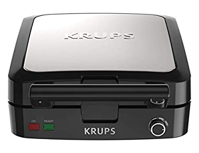 KRUPS GQ502D Adjustable Temperature Belgian Waffle Maker with Removable Plates, 4-Slice, Silver and Black