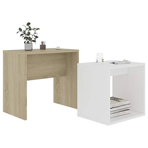 Pissente 2Pcs Small Coffee Table Set, Modern Small Tea Table Set Nest of 2 Table White and Sonoma Oak Wood Sofa Side Table with Shelf Home Furniture