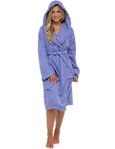CityComfort Señoras Robe Luxury Terry Toweling algodón Bata Albornoz Mujeres Altamente Absorbente Mujeres con Capucha y Shawl Towel baño Abrigo (L, Morado) ✅